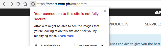 smart.com.ph SSL mixed