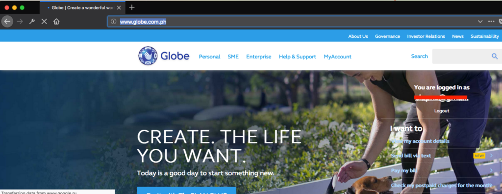 www.globe.com.ph home after login