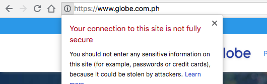 www.globe.com.ph mixed SSL