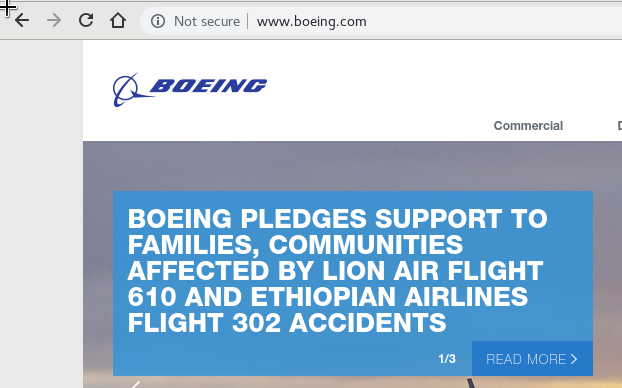 Boeing fails to enforce TLS on their corporate website