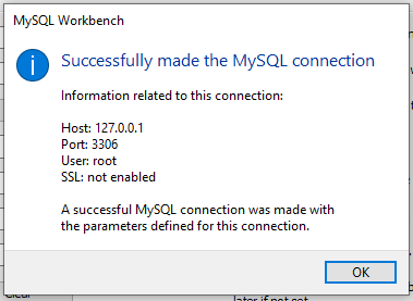 Successful SSH connection in MySQL Workbench
